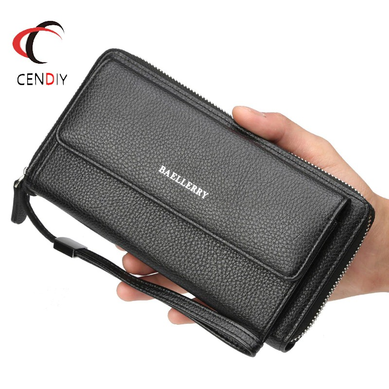 Large Capacity Leather Men Wallet ID Card Holder Soft Comfortable Clutch Handbag