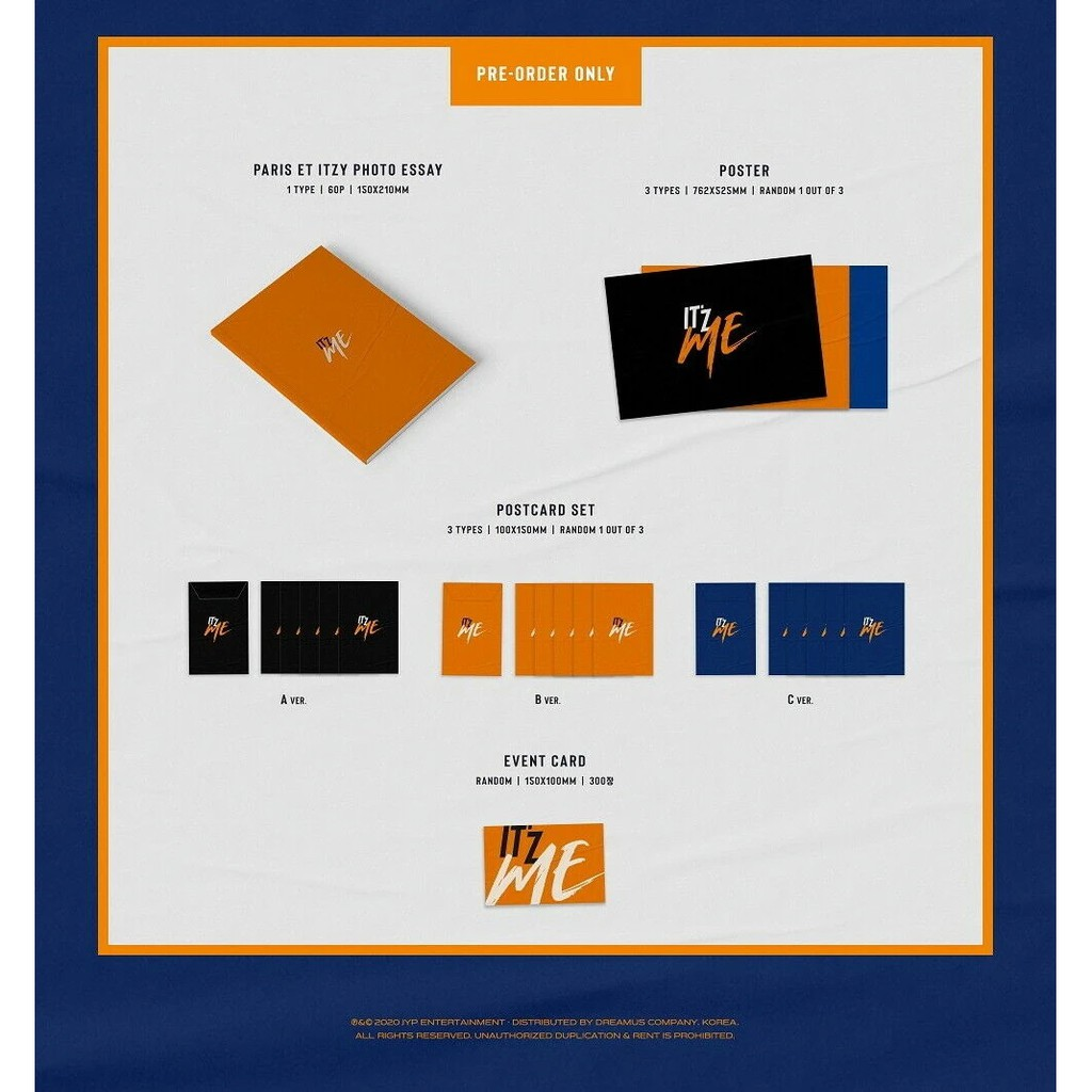 A ver. JYP Ent ITZY ITZ ME Album+Pre-Order Benefit+Folded Poster+Extra Photocards Set