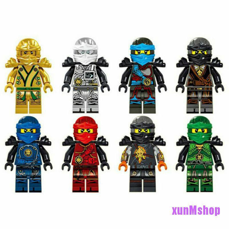 8 Stk Ninjago Motorcycle Set Minifigures Ninja Mini Figures Fits Lego Blocks Toy