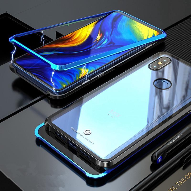 in vendita 0c12d 67a43 Xiaomi Mi Mix 3 Metal Magnetic Case tempered glass back cove