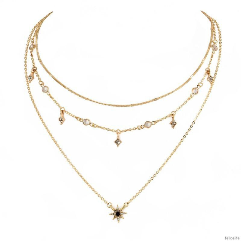 Rhinestone Vintage Necklace Coin Star Moon Pendant Multilayer Gold Chain