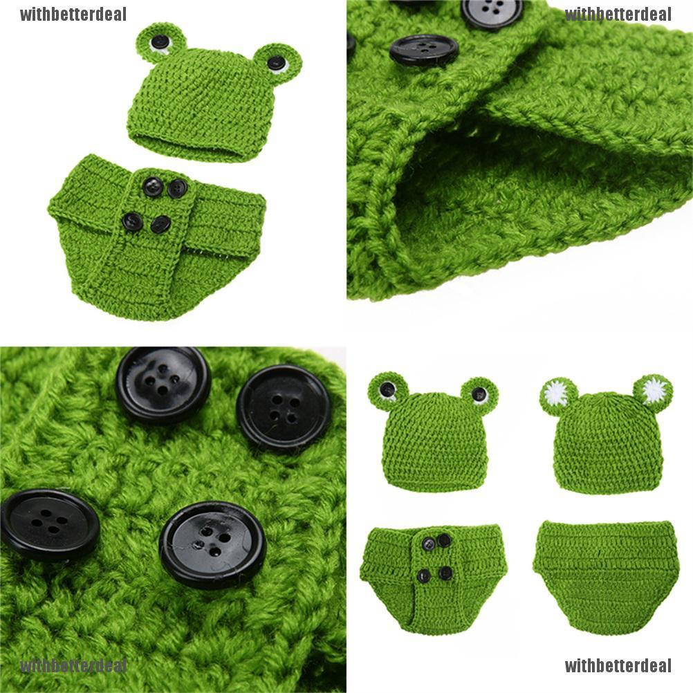 Newborn Baby Girls Crochet Knit Costume Frog Prince Photography Prop Outfits  ..