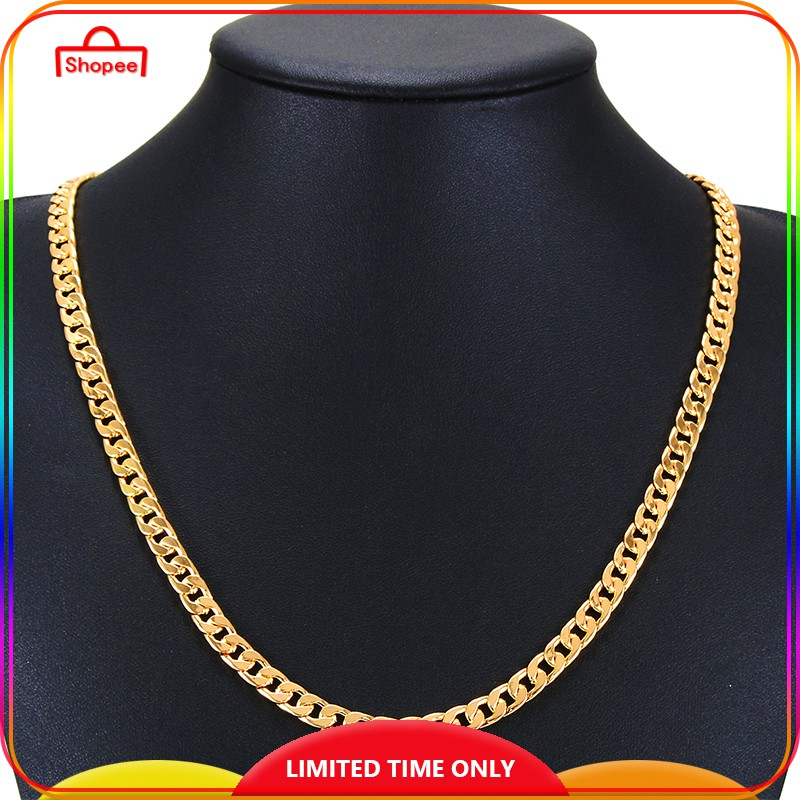 """18K Gold Filled Ladies Mens 7MM Classic Solid Curb Chain Necklace 20/"""" Stunning"""