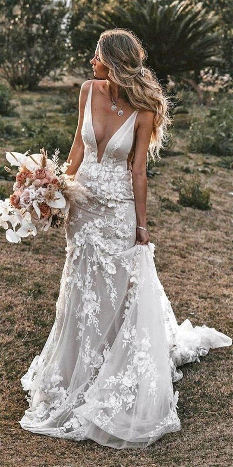 READY STOCK ?LORIE Vintage Mermaid Wedding Dresses 20 V neck ...