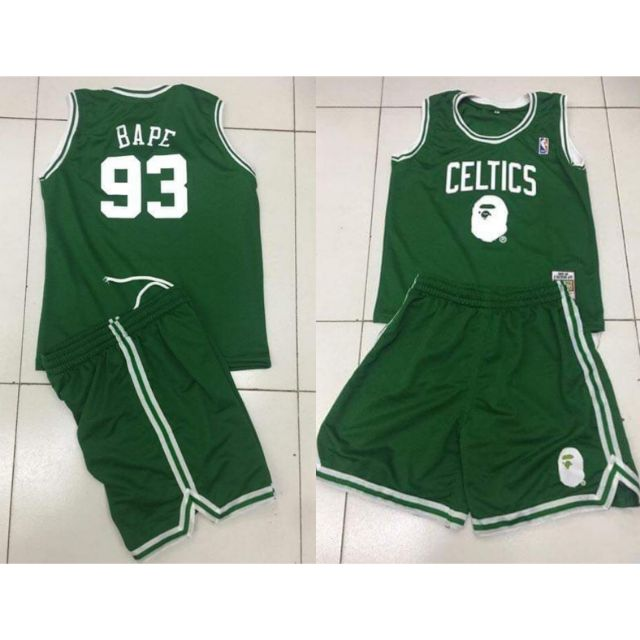 save off e12a7 afb38 NBA Celtics bape 93 basketball jersey set kids terno green