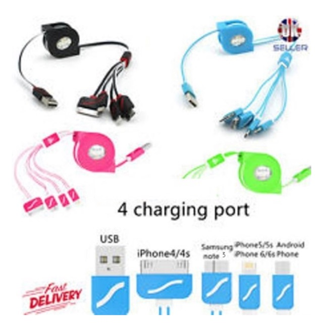 3ft Universal 4in1 USB Sync Data Charger Cable Cell Phone Tablet Galaxy//iPhone