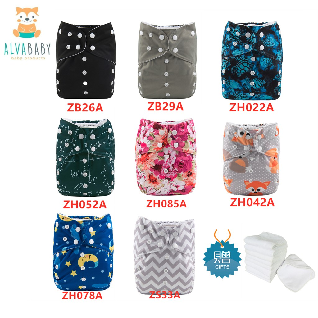 ALVABABY Reusable Washable Cloth Diapers One Siz Pocket Nappies Bamboo Insert