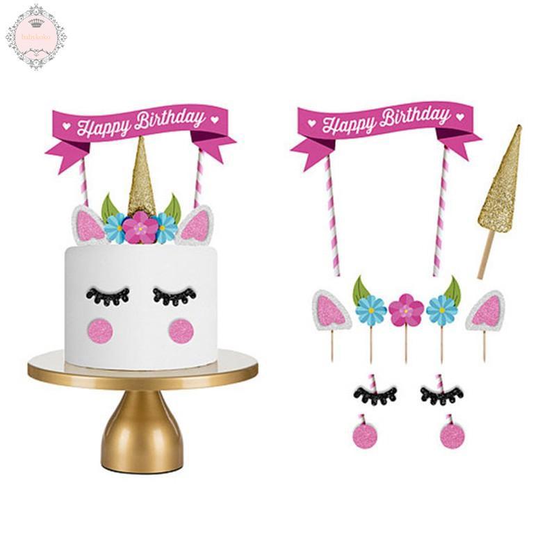 Excellent Unicorn Birthday Cake Topper Eyelashes Happy Birthday Party Cake Funny Birthday Cards Online Eattedamsfinfo