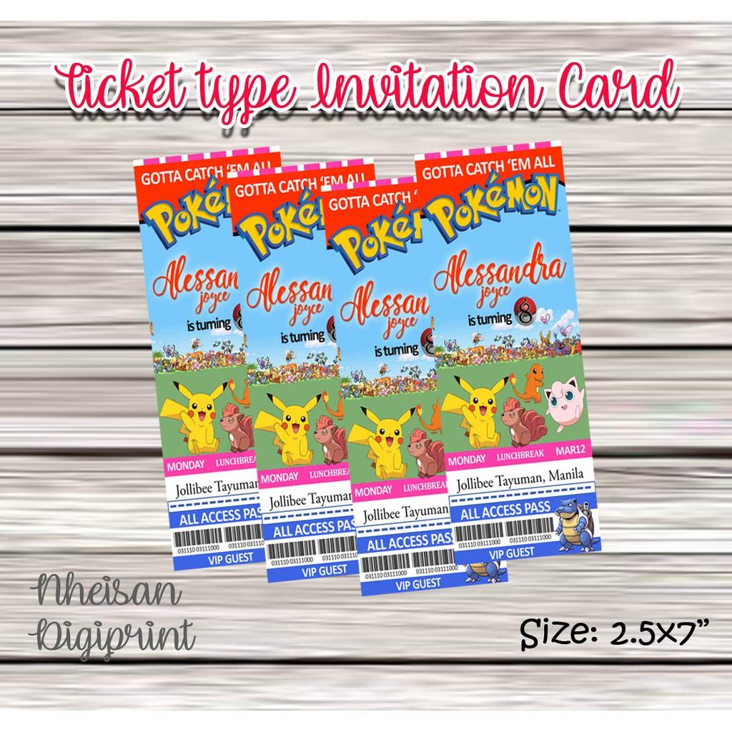 Ticket Type Invitation Card Pokemon