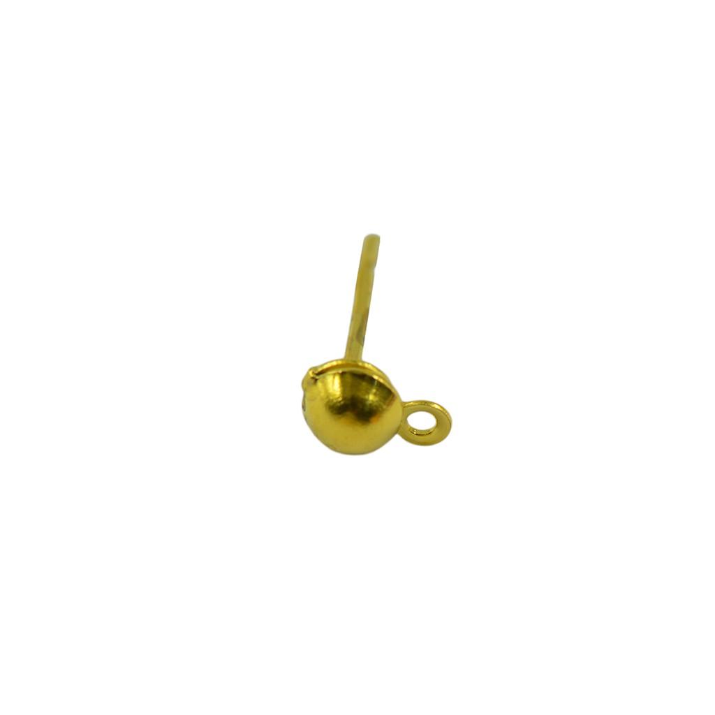 100x Earrings Ear Stud Pin with Loop /& Ball DIY Findings Gold 12x6mm