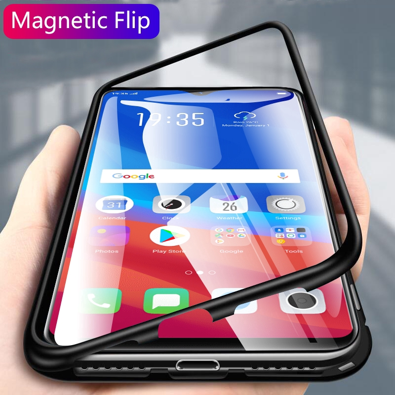 OPPO F9/F9 Pro/A7 Magnetic Metal Bumper Tempered Glass Case