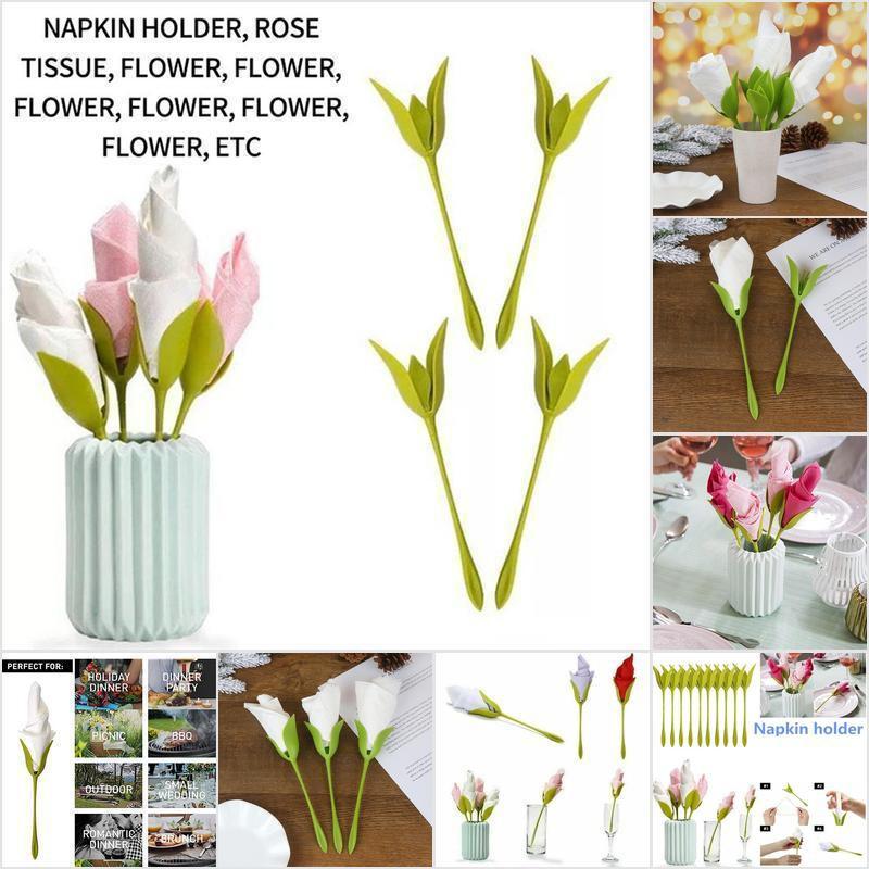Ntph 1 4 6 8pcs Napkin Holders Diy Paper Rose Flower Branch Holder Rack Napkin Clip Ntt Shopee Philippines