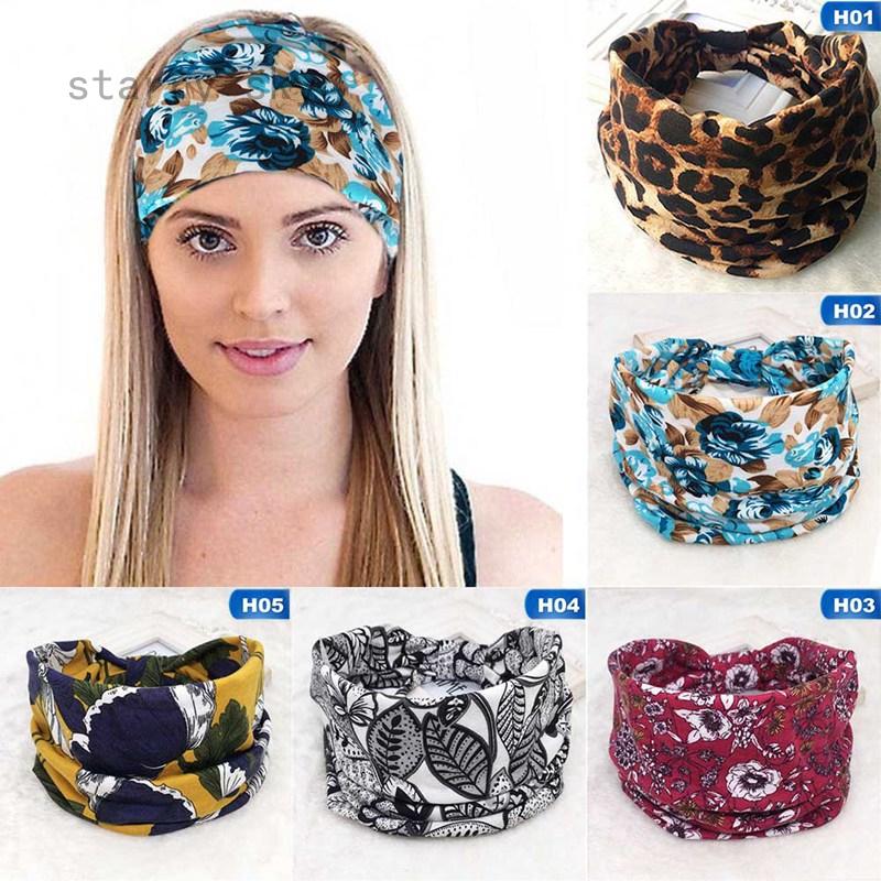 Wide Cotton Stretch Women Headband Turban Sports Yoga Knotted Hairband Wrap