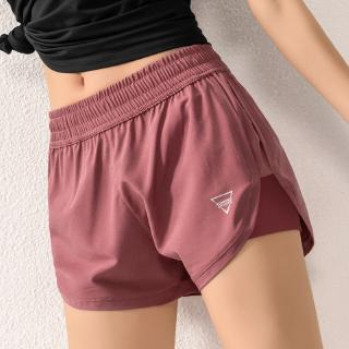 SportsX Women Fake Two Fitness Net Yarn Yoga Loose All-Match Jogging Shorts
