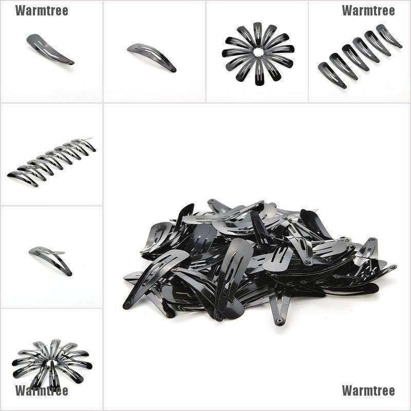 100 Pcs Girls Kids Hair Snap Clips Black Metal BB Hairclip Accessories 5cm yN