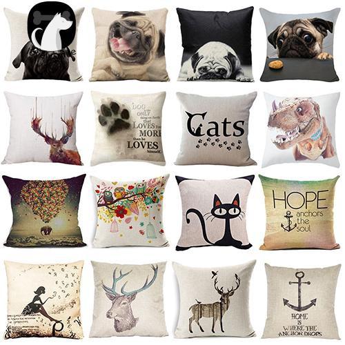 L~Lovely Dog Pug Elk Cat Animal Linen Cushion Decorative Throw Pillow Cover  Case
