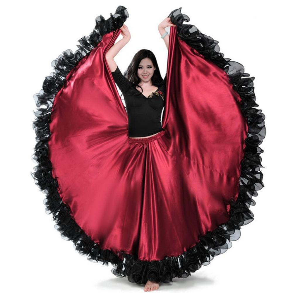 19a015a3354431 Woman Belly Spanish Flamenco Dance Satin Skirt Maroon Black