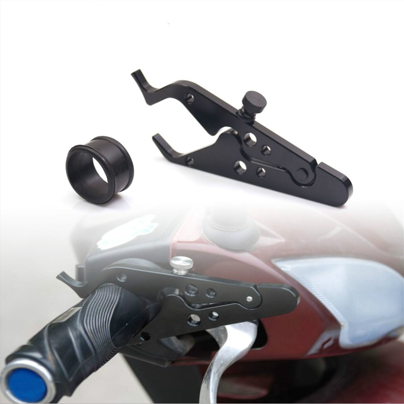 Silver KSTE Universal Motorcycle Handlebar Brake Lever Lock Throttle Grip Anti Theft Security Lock