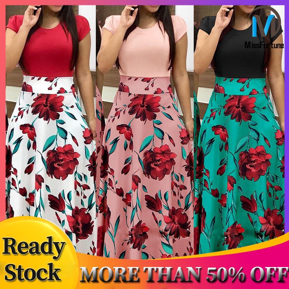 Plus Size Women Short Sleeve Floral Dress High Waist Long Maxi Dress