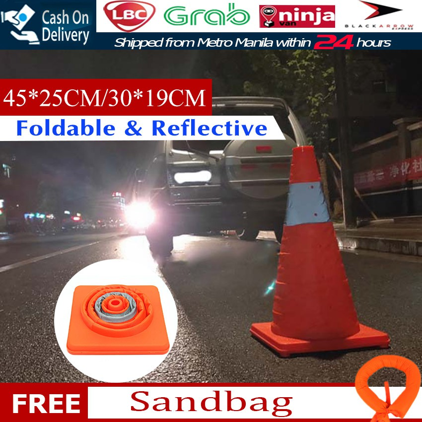 Reflectorized Traffic Cone Barricades Warning Sign Road Safety Telescopic Pop Up Safety Cone Shopee Philippines