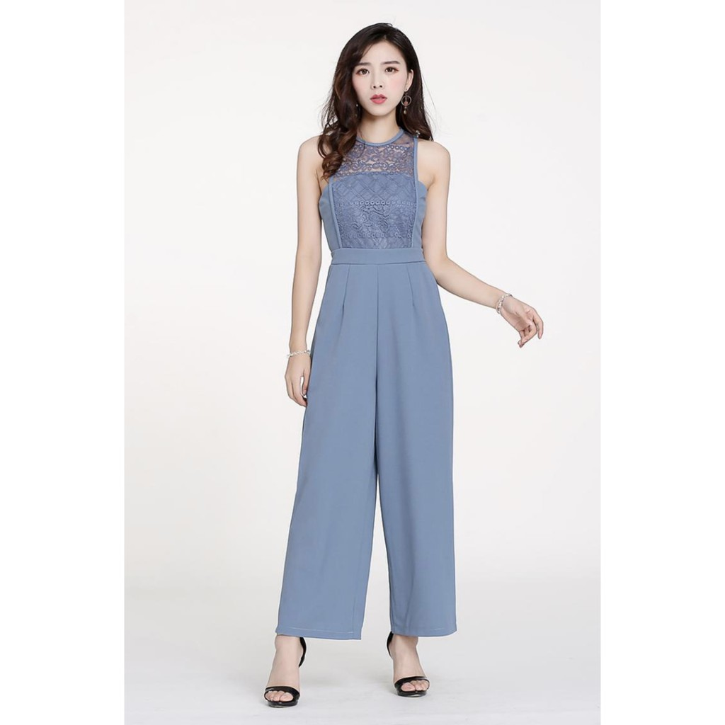 A2475 Miss M Fashion Embroidered Lace Combo Jumpsuit