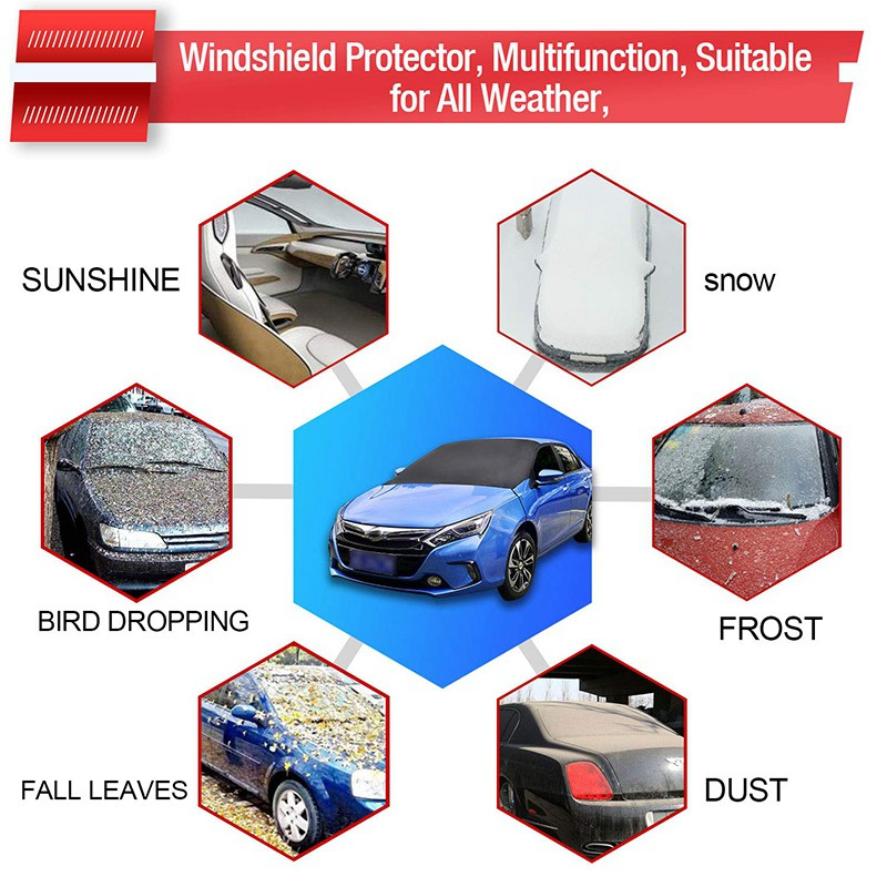 Sundlight Car Snow Cover Magnetic Edges Car Snow Cover Frost Car Windshield Snow Cover Waterproof Windshield Protector Car//Truck//SUV Frost Guard Protector Car Windsheild Sun Shade Ice Cover