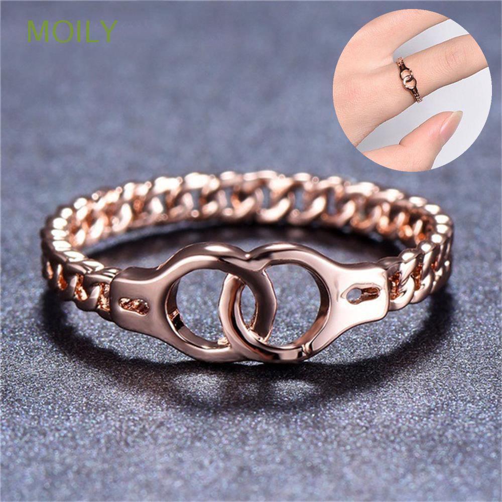Fashion Gift New Punk Vintage Handcuffs Ring Jewelry Midi Cross Chain