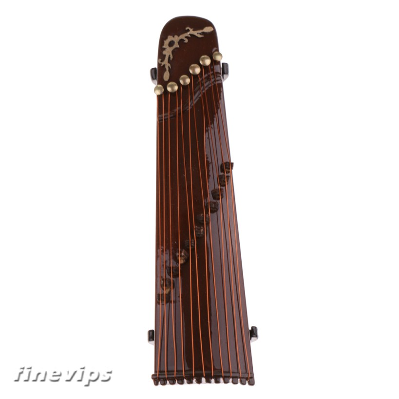 1:12 Wooden Guzheng Chinese Zither Dollhouse Miniature Musical Instruments