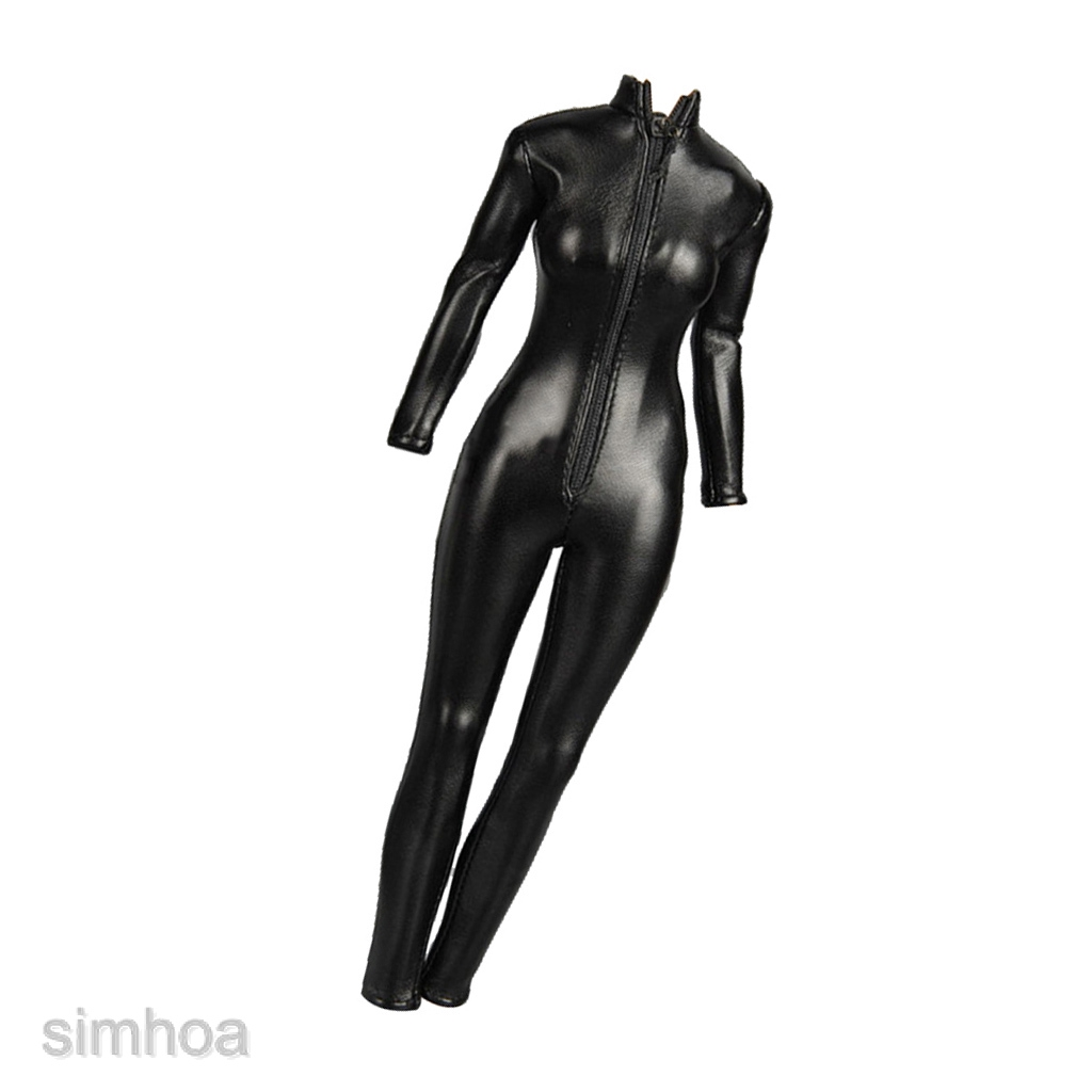 """1//6 Female Clothing PU Leather Jumpsuit Catsuit for 12/"""" Phicen Kumik CY Girl"""