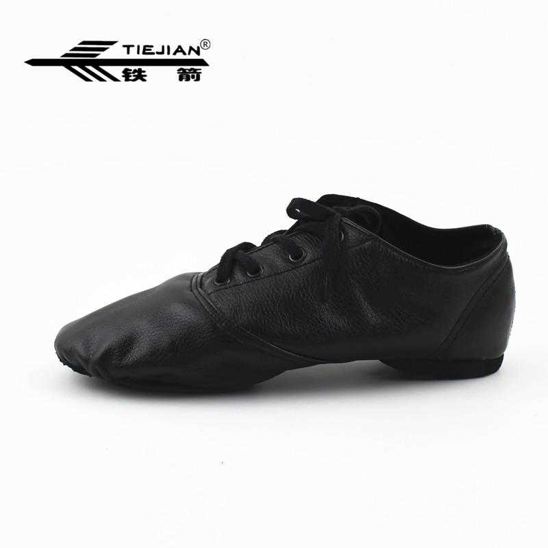 Comfortable Soft Sole Lace Up PU Leather Jazz Shoes Breathable Practice Dance Shoes for Adult Women Men 1 Pair Black