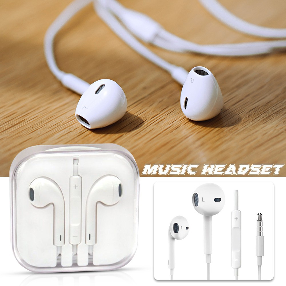 Apple High Quality Mic In-ear Headset Earphone White iPhone Earpods Universal Earphones