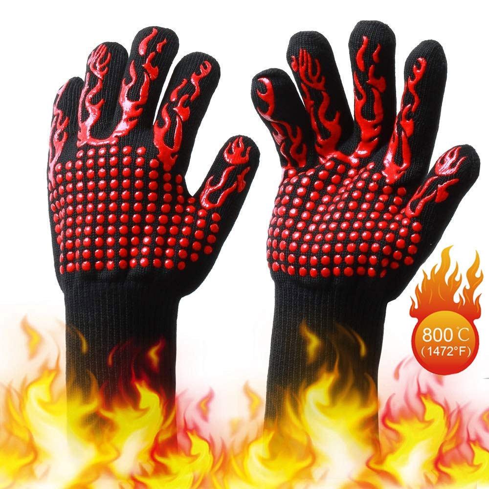 1*PVC BBQ Glove Cotton Double Side Dispensing High Temperature Resistant Heat US