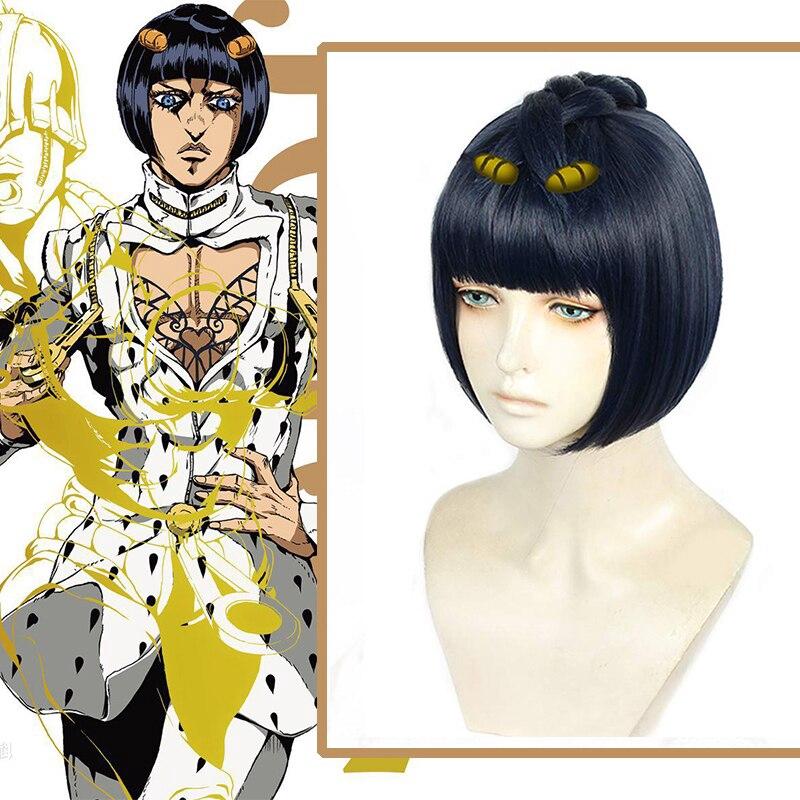 Hot Anime JoJo no Kimyou na Bouken Bruno Bucciarati Cosplay Men Party Hair Wig