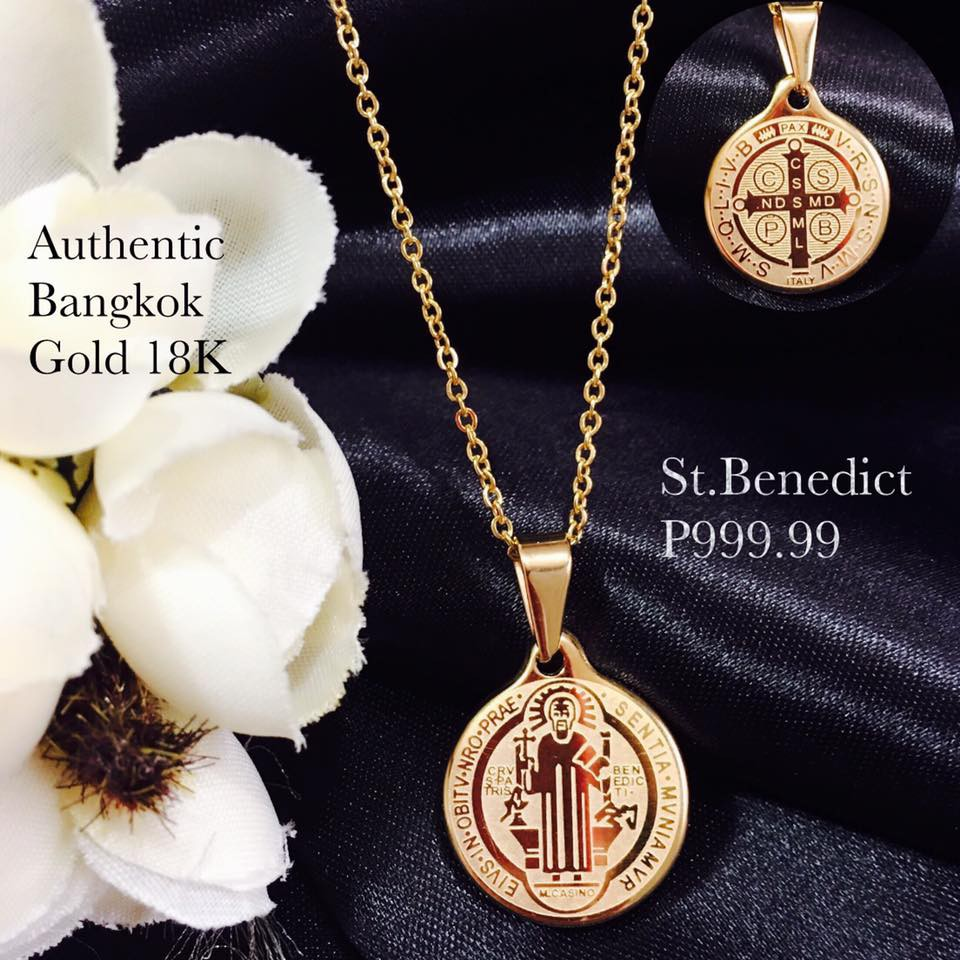 Authentic Bangkok Gold 18K Religious St Benedict Necklace Shopee