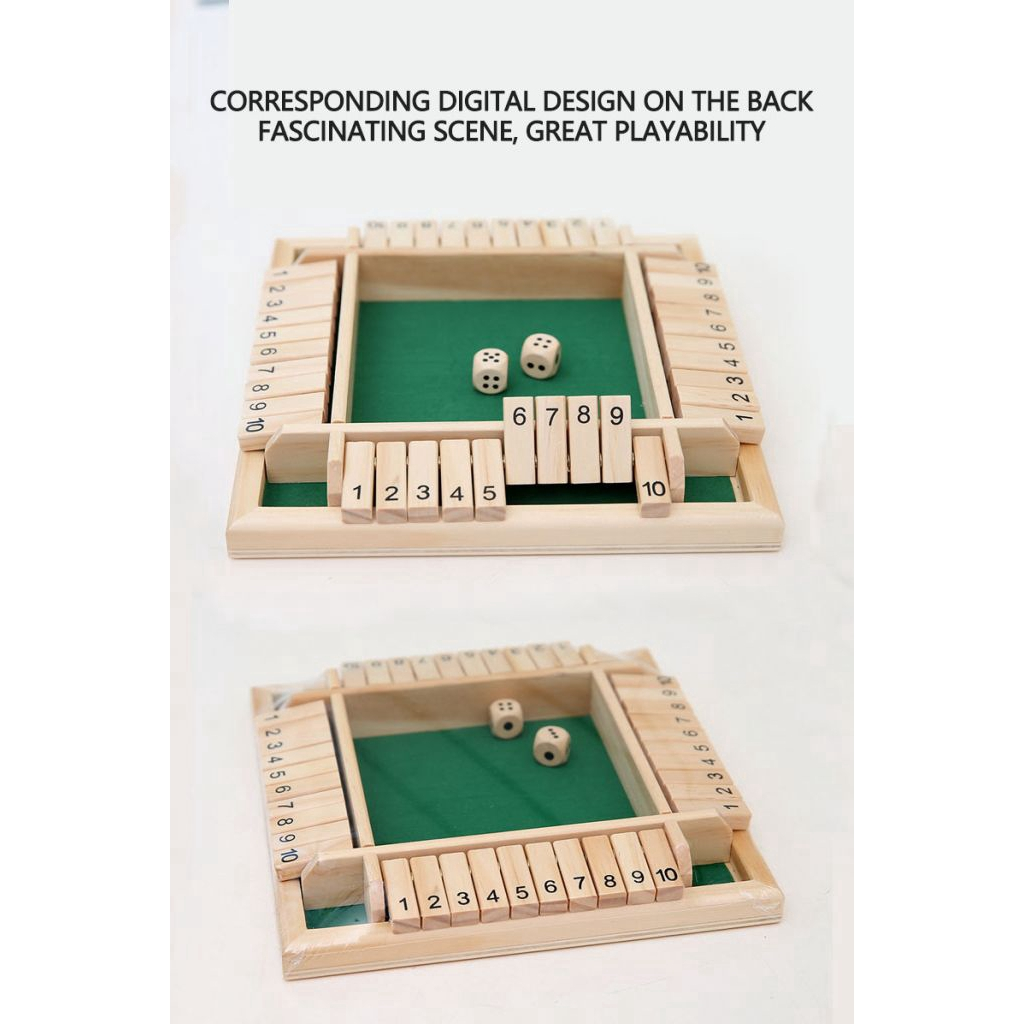Wooden 12# Shut The Box Game Small Travel Set party board game Simple Family