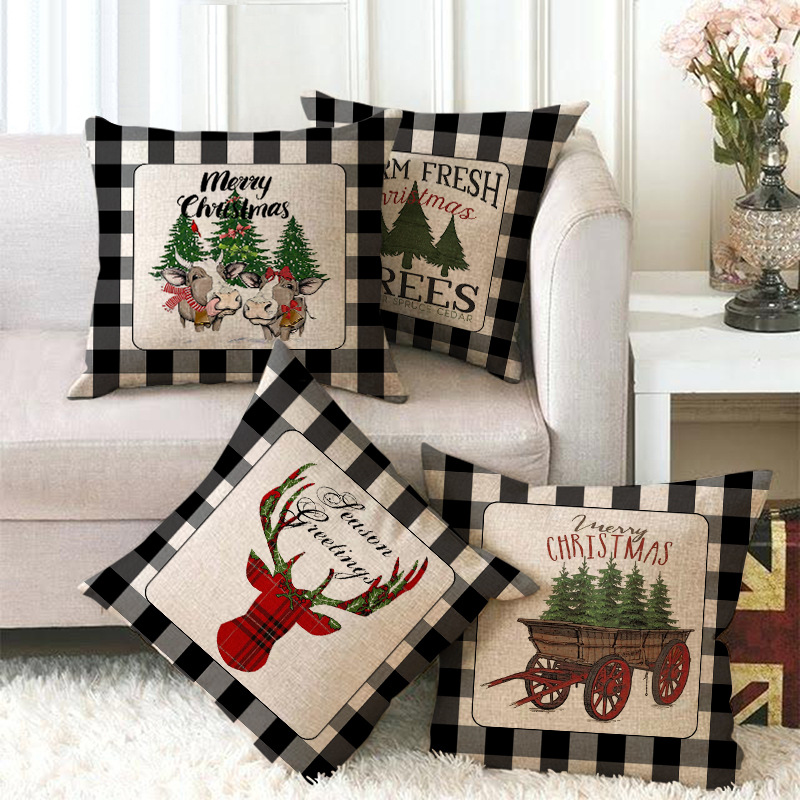 Christmas Pillow Covers Farm Fresh Tree Red Truck Rustic Winter Holiday Throw Pillows Farmhouse Christmas Decor For Home Xmas Decorations Cushion Cases For Sofa Couch Shopee Philippines