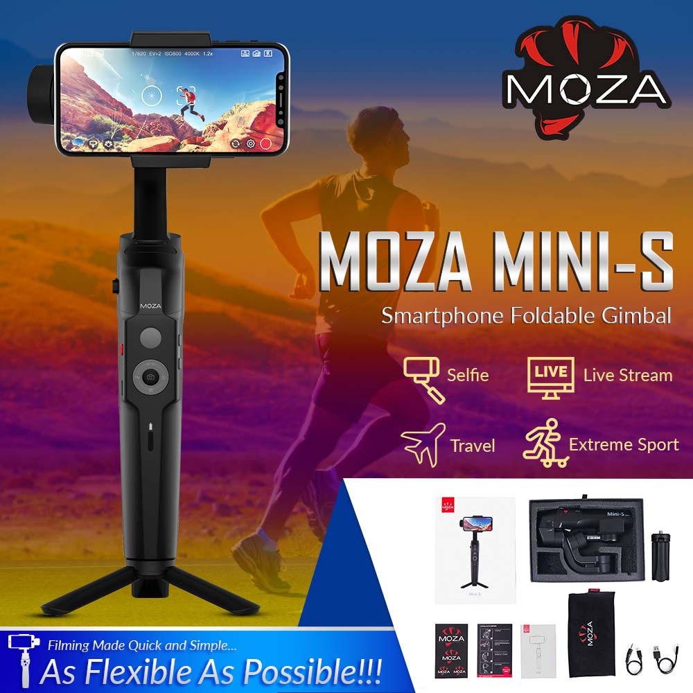 Moza Mini-S 3-Axis Gimbal Stabilizer For Android Iphone And SmartPhones