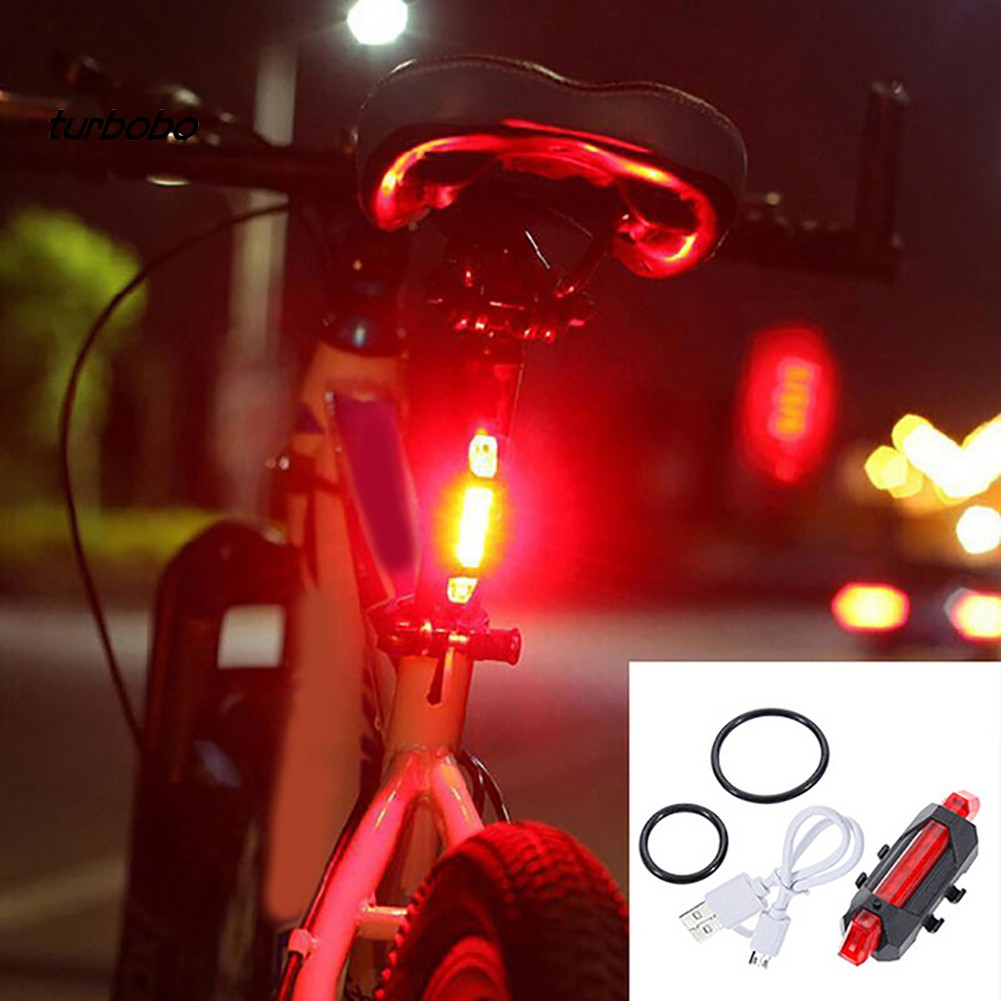 2 x Portable Rechargeable Rear LED USB Cycling Bike Light COB Tail Light Bicycle Rear Light