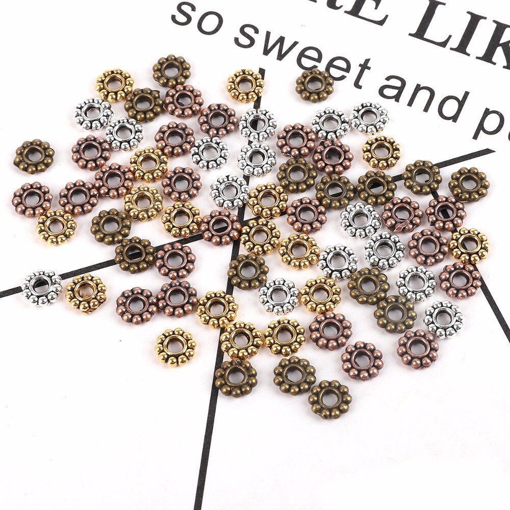 100 pcs 4 colors Flower Spacer Beads Round Metal Daisy Wheel Spacers beads hot