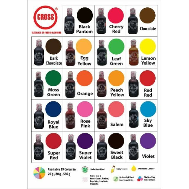 20g Cross Oil Based Food Coloring for Baking Onhand