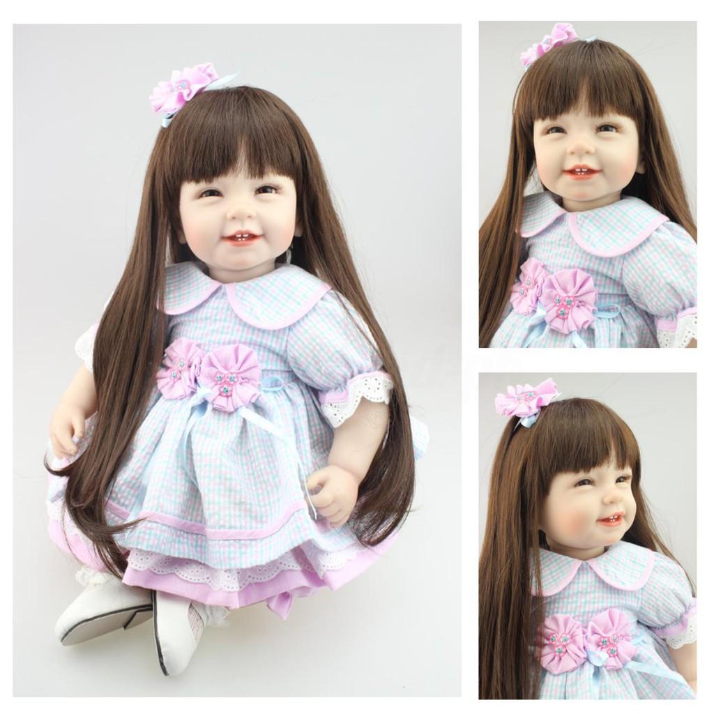 """22/"""" Brand Reborn Toddler Doll Lifelike Little Princess Girl Vinyl Long Hair Baby"""