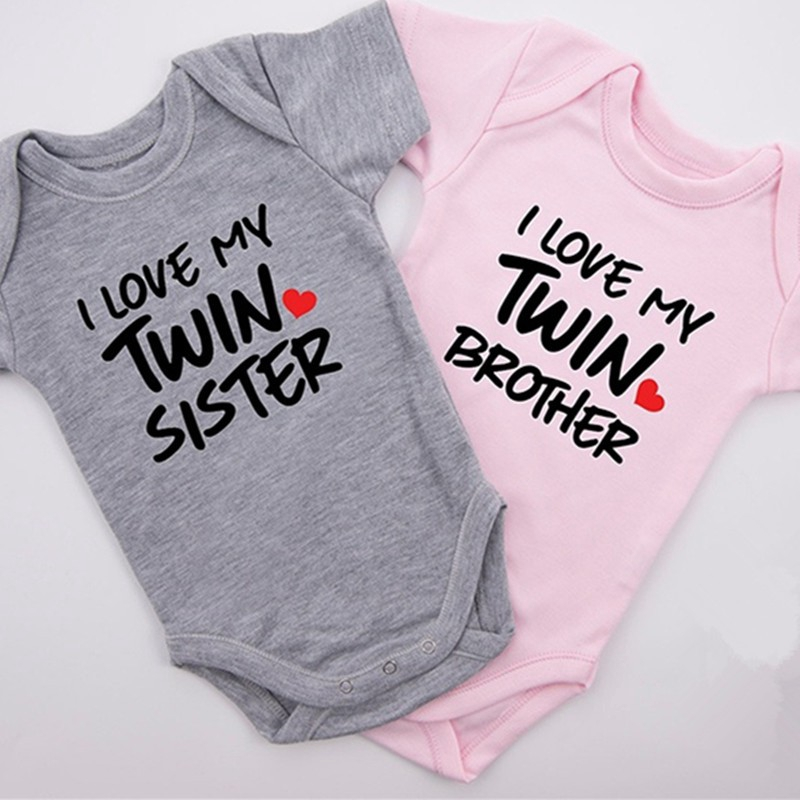 adb6c3121d61e Baby Rompers I Love My Twin Sister & Brother Twin Bodysuit