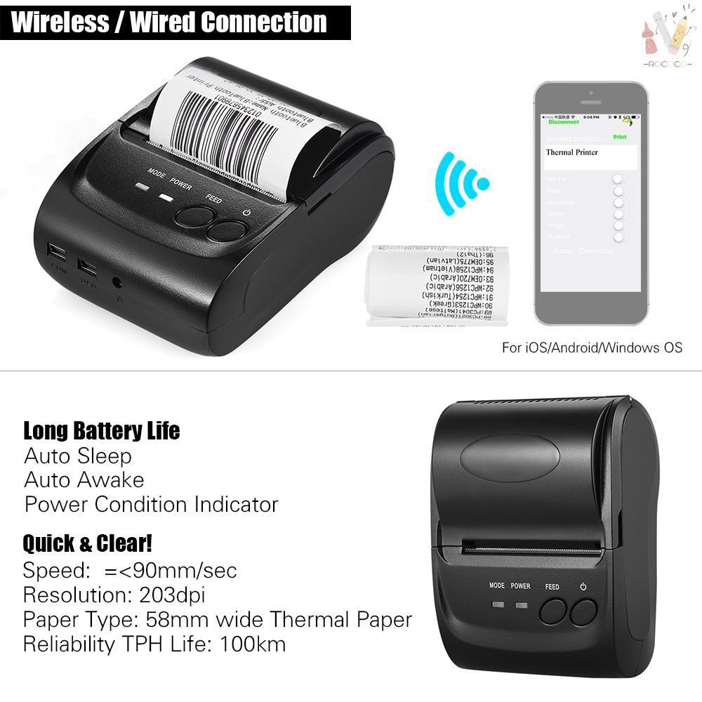Office Electronics POS-5802DD Mini Portable Wireless USB Thermal ...