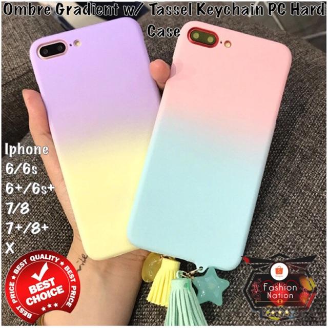 wholesale dealer 723b9 4bb70 Ombre Gradient w/ Tassel Iphone Case 6 6s 7 8 Plus X 5 5s Se