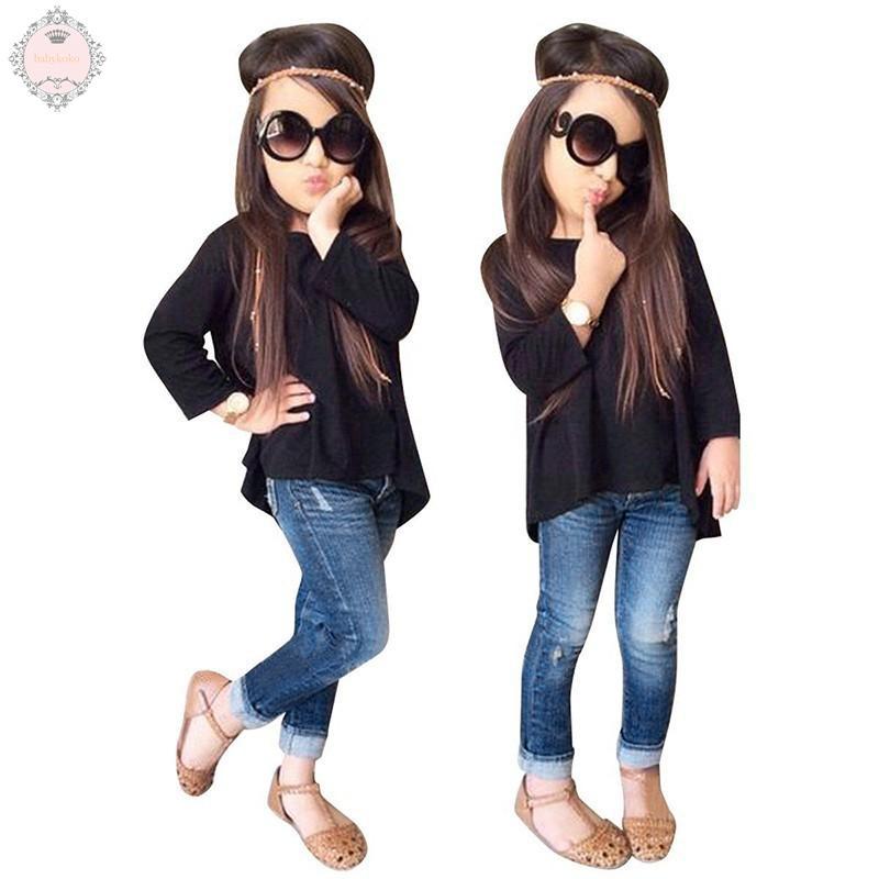 5a1a45d4dabe New Fashion Kids Baby Girls Denim Tops Shirt+Tutu Skirts | Shopee  Philippines