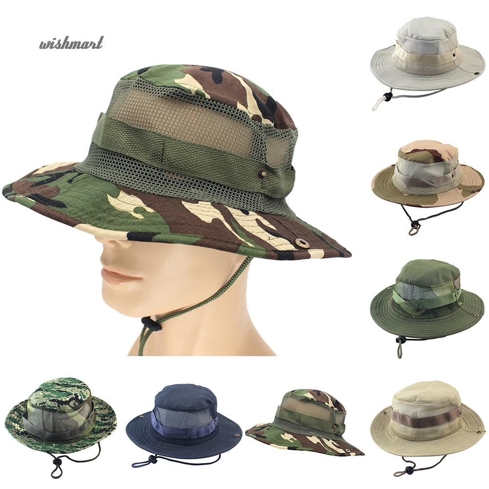 1442192d3 ☆Flat Roof Military Hat Cadet Camouflage Outdoors Climbing Fishing Boonie  Cap