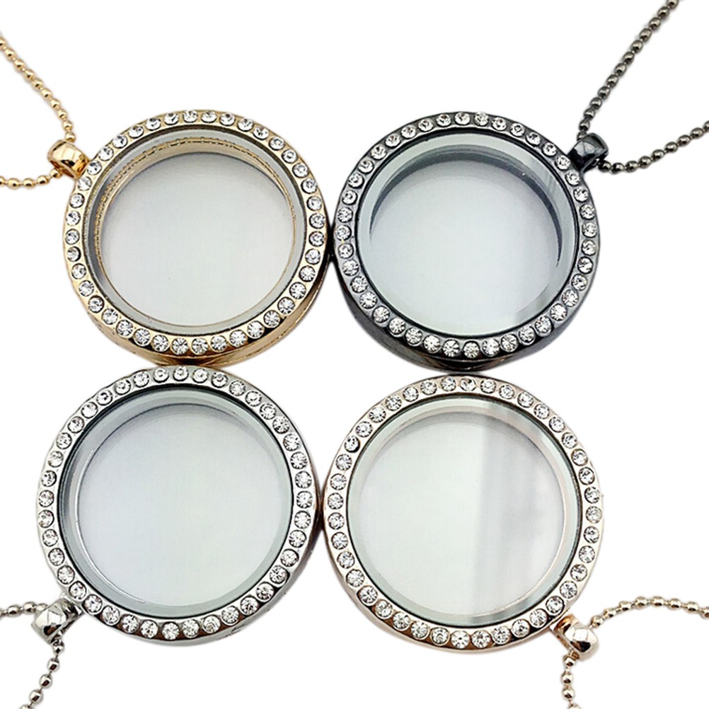 Newly Living Memory Floating Round Crystal Glass Locket Pendant Necklace Jewelry