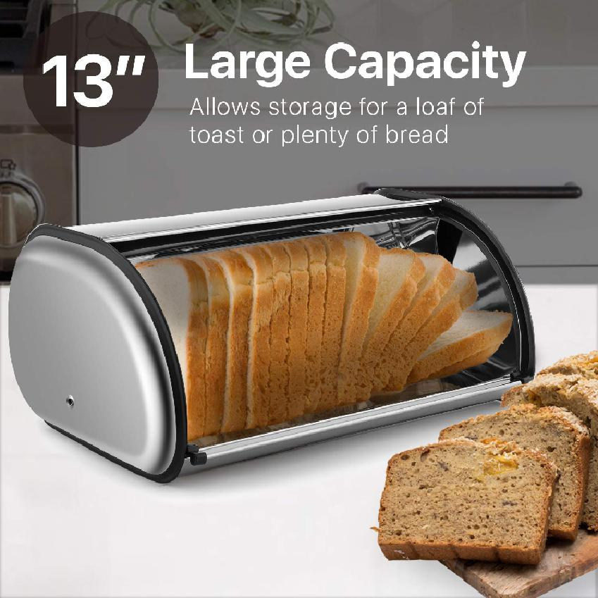 Stainless Steel Bread Box Holder Metal Roll Top Up Lid Bread Container Storage Bin Keeper For Homemade Cake Buns Loaves Pastries Pancakes Cookies Ideal For Restaurants Home Kitchen Shopee Philippines