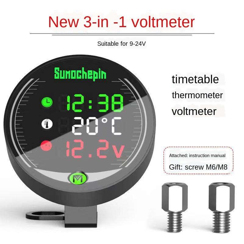 Racing 12V LED Voltmeter Mini 3 In 1 Led Voltmeter Air Temperature Voltmeter for Motorcycle