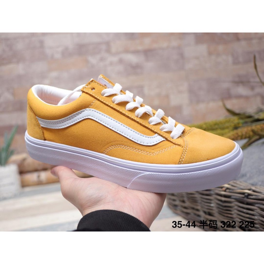 Women Old Skool Vans Men Canvas Shoes Original Yelow Sports Low Casual White D9IWH2YE